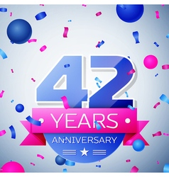 Forty two years anniversary celebration on grey vector image