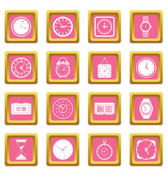 time and clock icons pink vector image vector image