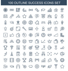 100 success icons vector image