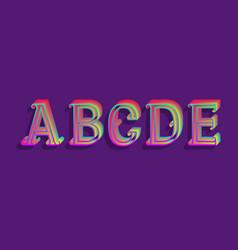A b c d e iridescent letters vintage 3d font vector