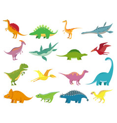adorable smiling dinosaurs cute bastegosaurus vector image