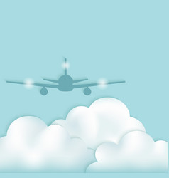 Airplane silhouette above clouds vector