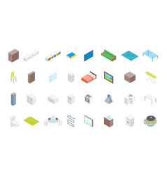 Apartment family rooms icon set isometric view vector
