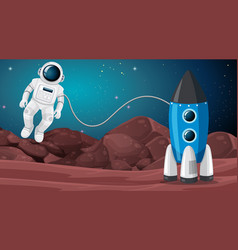 astronaut and rocket background vector image