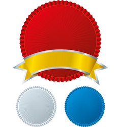 Badge seal with ribbon in three different colors vector