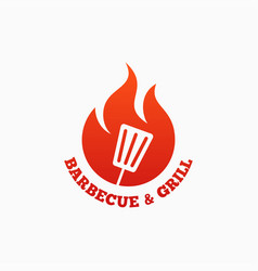 Barbecue and grill logo bbq fire flame on white vector