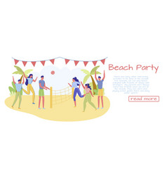Beach party banner and sporting event outdoor vector
