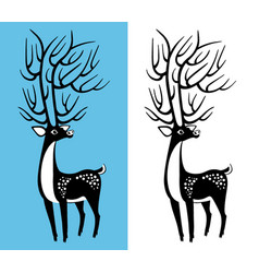 Black and white deer vector