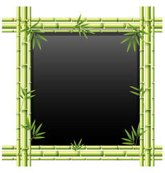 blackboard with green bamboo sticks vector image