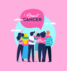 breast cancer awareness card of friend group vector image