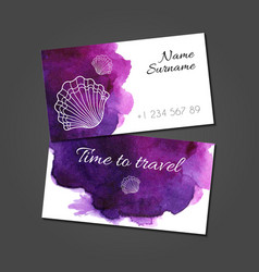 Business card with seashells on watercolor stain vector