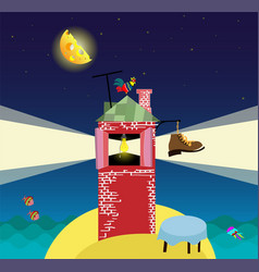 cartoon landscape with lighthouse night sea and vector image