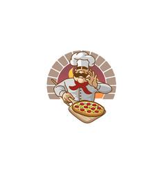 Chef pizza forno logo vector