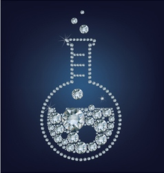Chemistry flask icon made up a lot of diamonds vector image