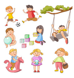 Children little boys girls playing outdoor games vector