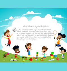 Children playing outdoors on summer background vector
