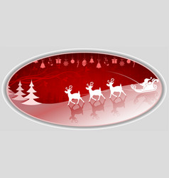 Christmas oval composition with santa claus slowly vector