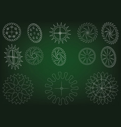 Cogwheels on a green vector