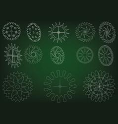 cogwheels on a green vector image