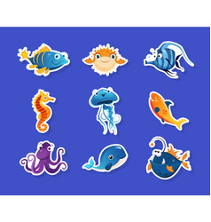 collection childish stickers with cute sea vector image
