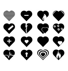 collection heart symbol hearts vector image