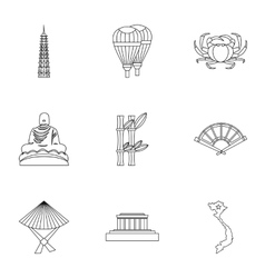 Country Vietnam icons set outline style vector image