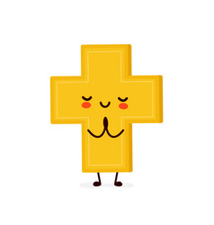 Cute happy smiling christian cross pray vector