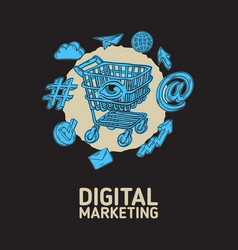 digital marketing poster design with isolated vector image