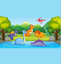 Dinosaurs in wood scene with river vector