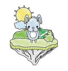 doodle cute male rabbit in the float island vector image