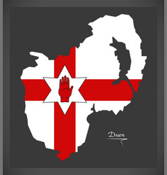 Down northern ireland map with ulster banner vector