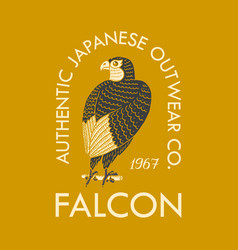 falcon logo for t-shirt eagle or wild bird vector image