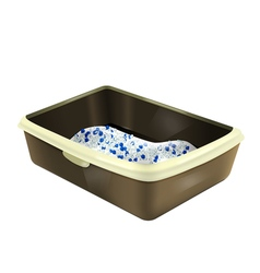 Filled cat litter box with silica gel vector