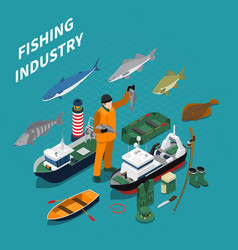 Fishing isometric concept vector