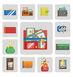 Flat money wallet icon check list making purchase vector