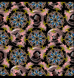 floral greek abstract seamless pattern vector image
