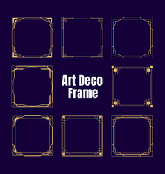 Gold art deco square borders and frames isolated vector