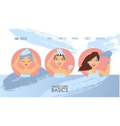 Hair care basics website vector