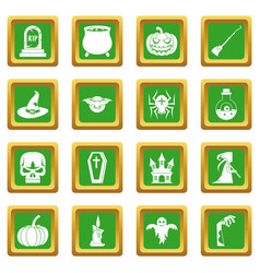 Halloween icons set green vector