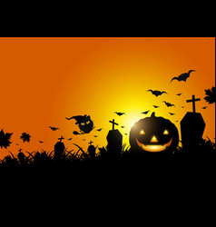 halloween pumpkin on grass with moon light vector image