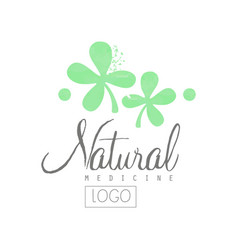 hand drawn emblem with green leaves and lettering vector image