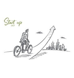 Hand drawn man going up on bicycle with lettering vector image