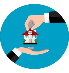 Hand giving house vector image