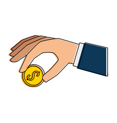 hand with coin icon vector image