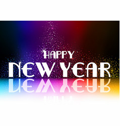 happy new year greeting with falling glitters vector image