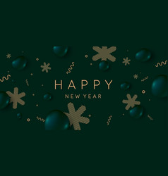 happy new year poster abstract 3d objects vector image
