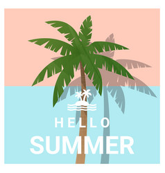 Hello summer background with palm tree vector