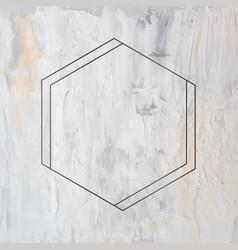 Hexagon black frame on grunge background vector