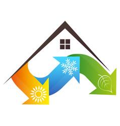 house and arrows air conditioner eco symbol vector image