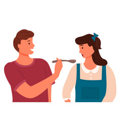 husband giving spoon with food for wife to try vector image